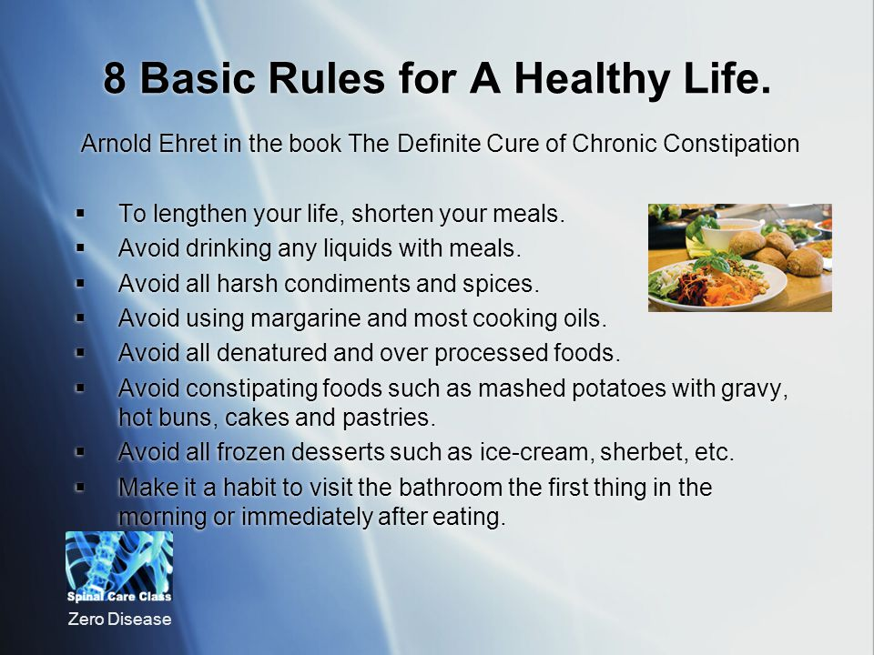8 Basic Rules for A Healthy Life.