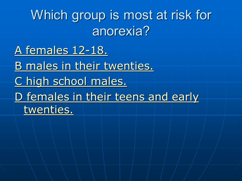 Which group is most at risk for anorexia