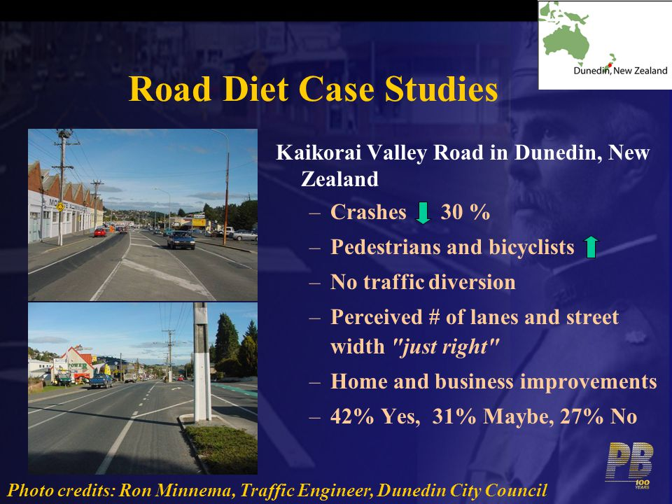Road Diet Case Studies Kaikorai Valley Road in Dunedin, New Zealand