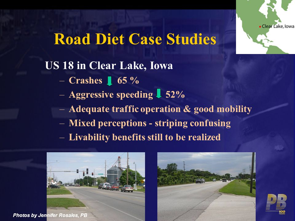 Road Diet Case Studies US 18 in Clear Lake, Iowa Crashes 65 %
