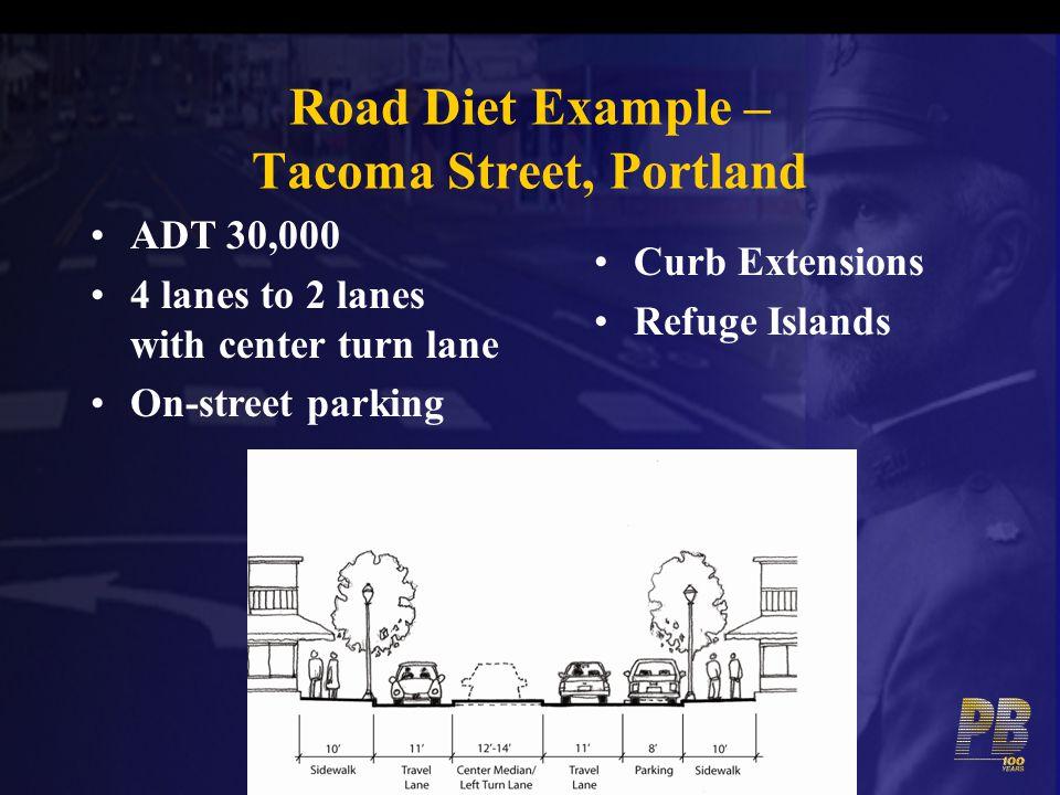 Road Diet Example – Tacoma Street, Portland
