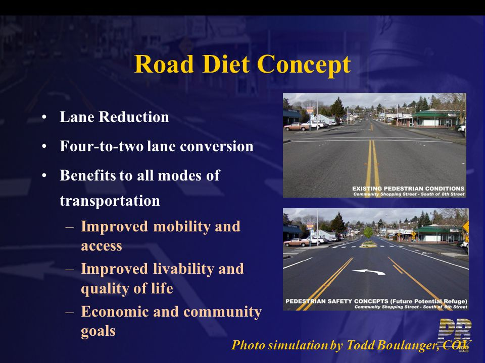 Road Diet Concept Lane Reduction Four-to-two lane conversion