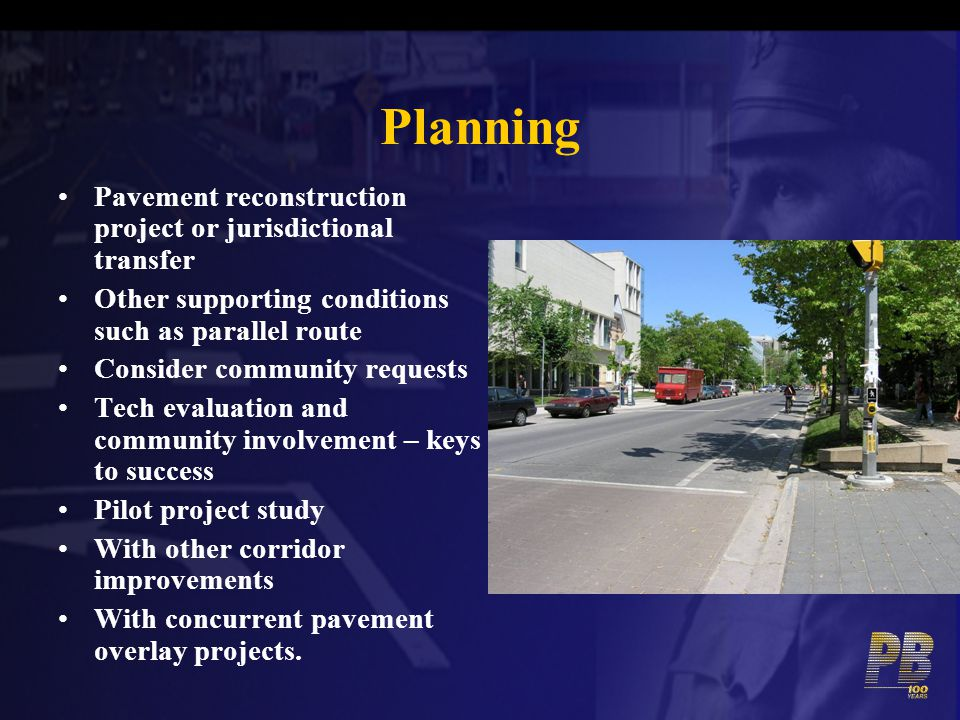 Planning Pavement reconstruction project or jurisdictional transfer