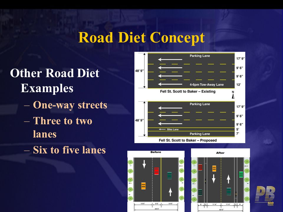 Road Diet Concept Other Road Diet Examples One-way streets