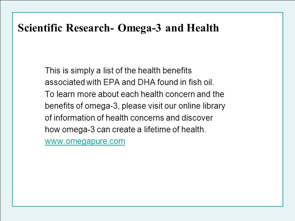 Scientific Research- Omega-3 and Health