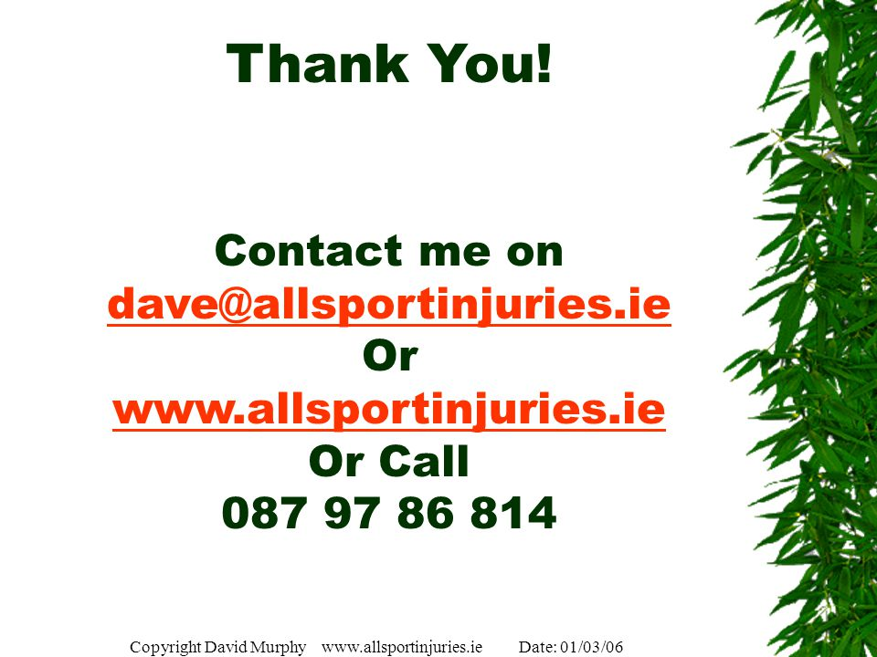 Copyright David Murphy www.allsportinjuries.ie Date: 01/03/06