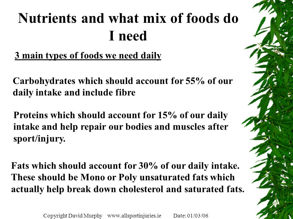 Nutrients and what mix of foods do I need