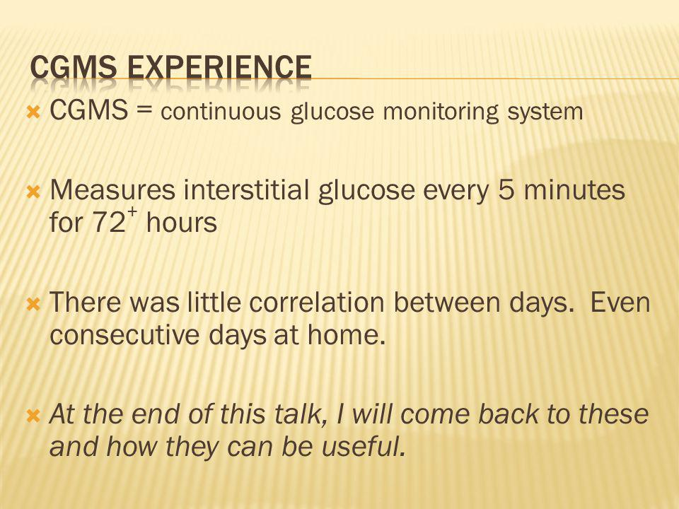 CGMS experience CGMS = continuous glucose monitoring system