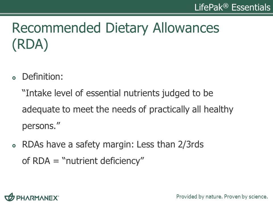 Recommended Dietary Allowances (RDA)
