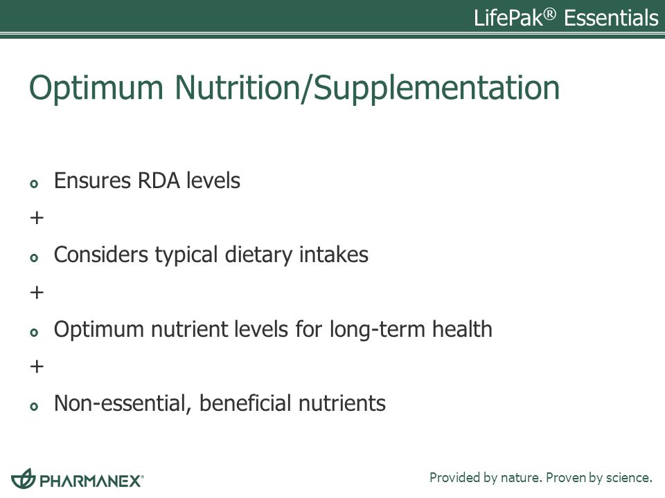 Optimum Nutrition/Supplementation