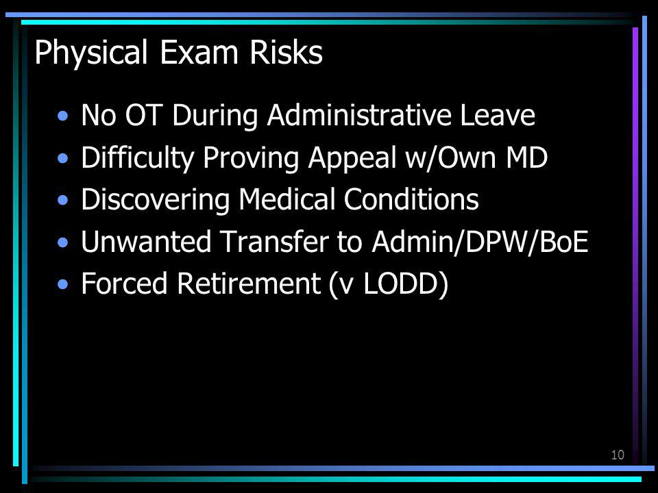 Physical Exam Risks No OT During Administrative Leave