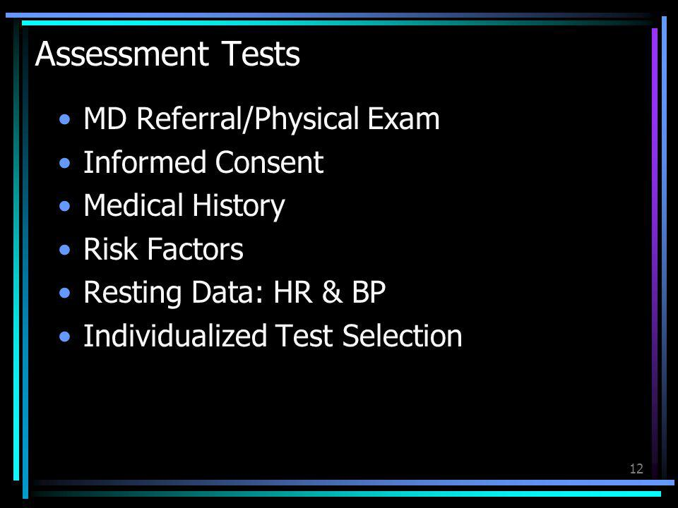 Assessment Tests MD Referral/Physical Exam Informed Consent