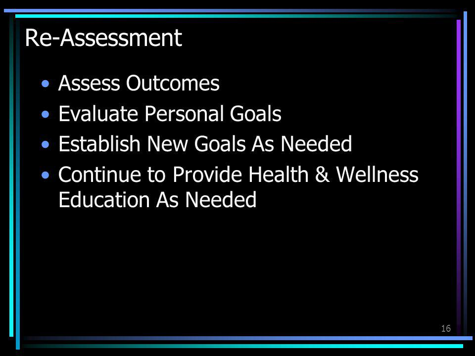 Re-Assessment Assess Outcomes Evaluate Personal Goals