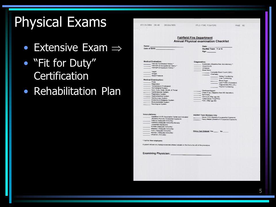 Physical Exams Extensive Exam  Fit for Duty Certification