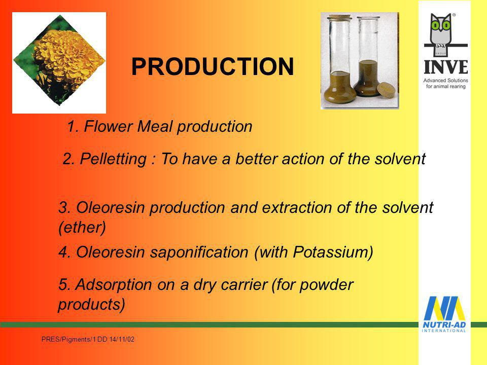 PRODUCTION 1. Flower Meal production