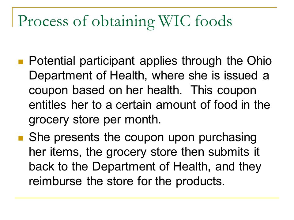 Process of obtaining WIC foods