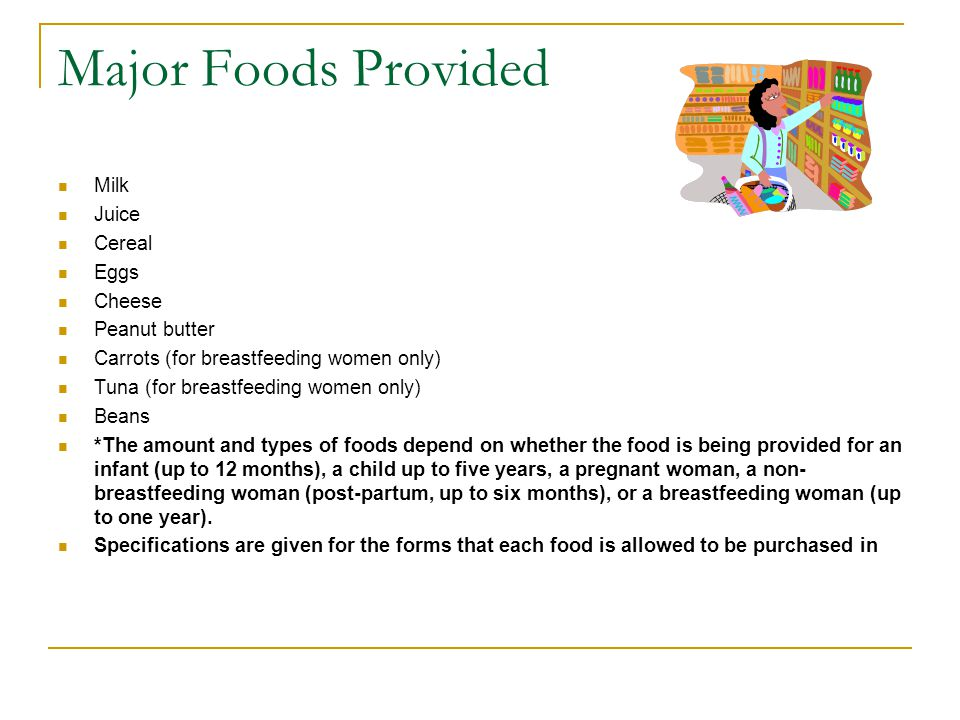 Major Foods Provided Milk Juice Cereal Eggs Cheese Peanut butter