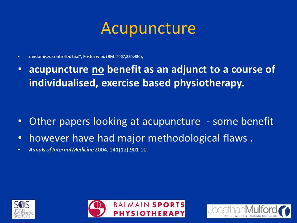 Acupuncture randomised controlled trial , Foster et al. (BMJ 2007;335;436),