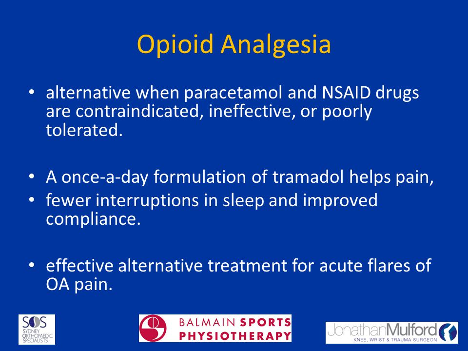 Opioid Analgesia alternative when paracetamol and NSAID drugs are contraindicated, ineffective, or poorly tolerated.