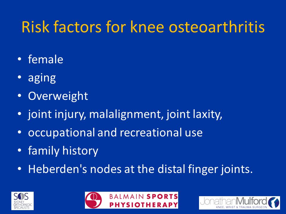 Risk factors for knee osteoarthritis