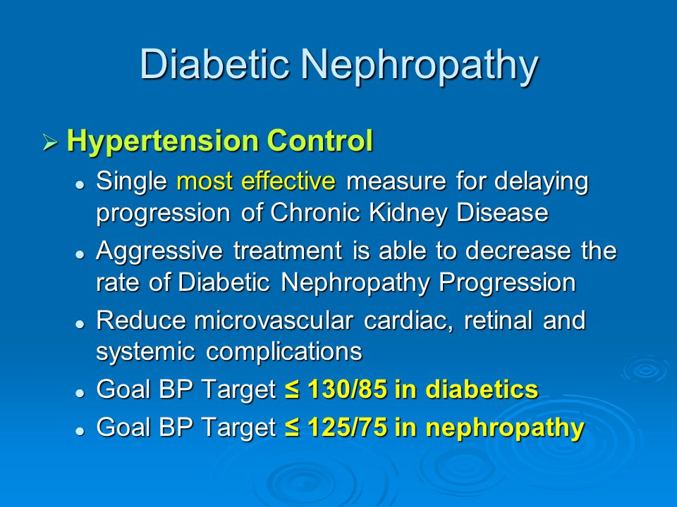 Diabetic Nephropathy Hypertension Control