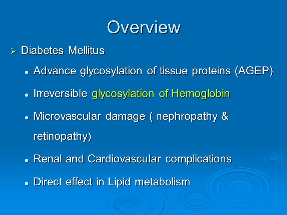 Overview Diabetes Mellitus