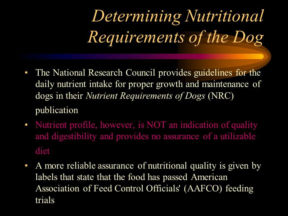 Determining Nutritional Requirements of the Dog