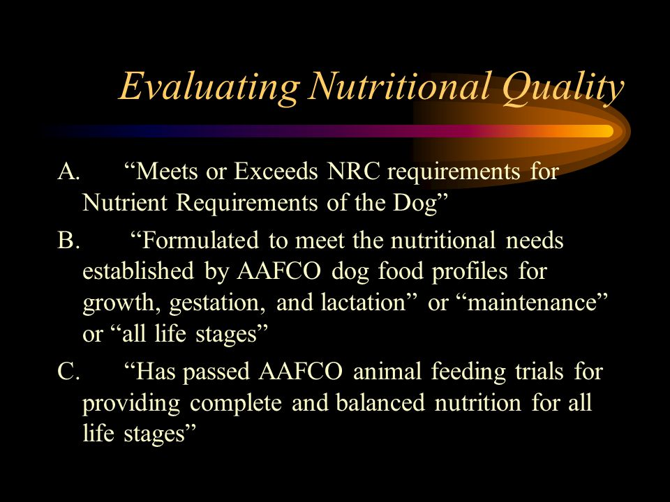 Evaluating Nutritional Quality