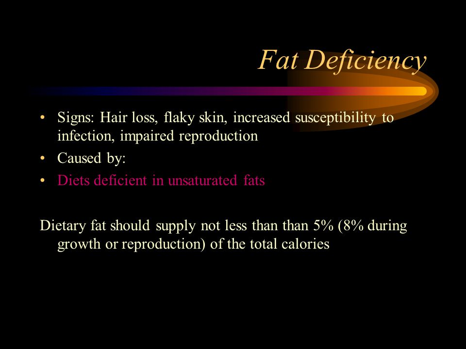 Fat Deficiency Signs: Hair loss, flaky skin, increased susceptibility to infection, impaired reproduction.