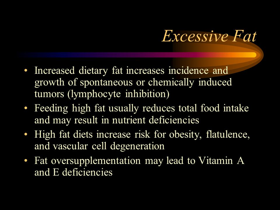 Excessive Fat Increased dietary fat increases incidence and growth of spontaneous or chemically induced tumors (lymphocyte inhibition)