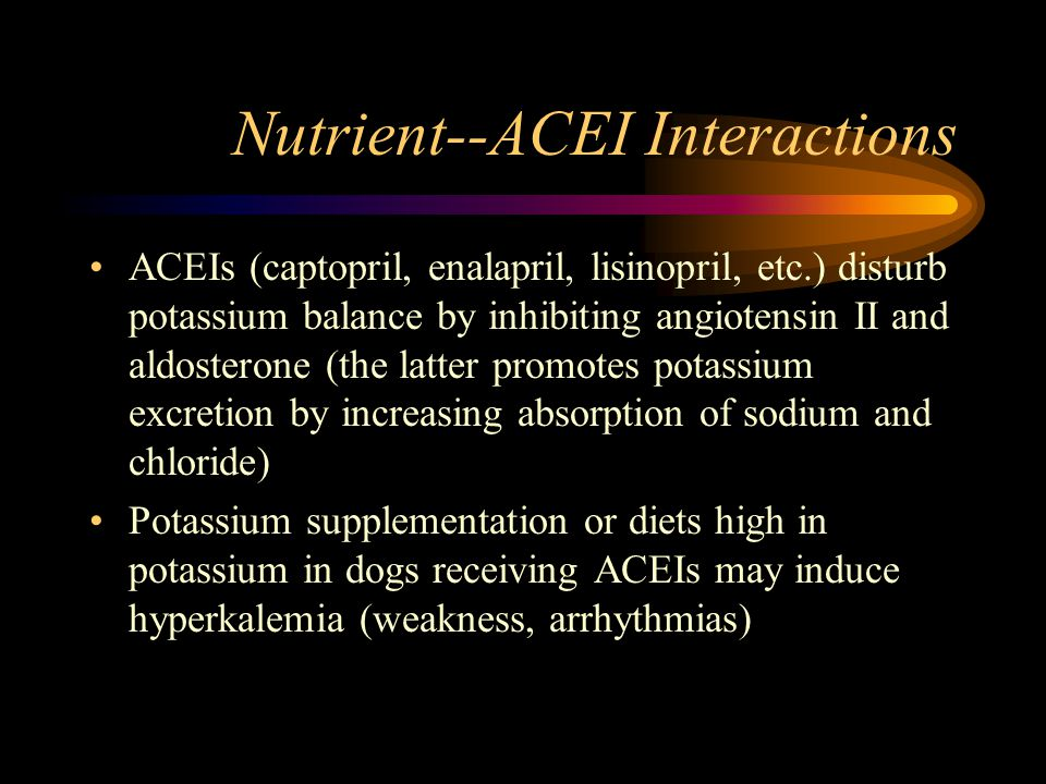Nutrient--ACEI Interactions