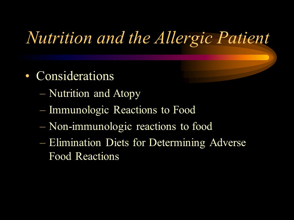 Nutrition and the Allergic Patient