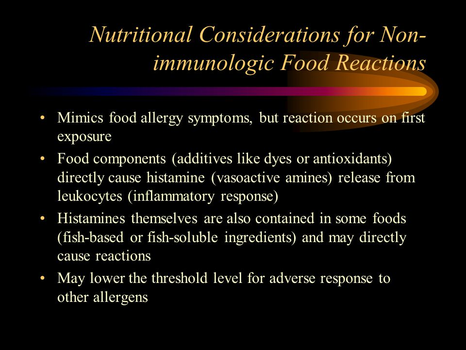 Nutritional Considerations for Non-immunologic Food Reactions
