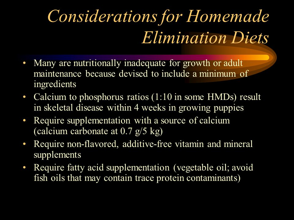 Considerations for Homemade Elimination Diets