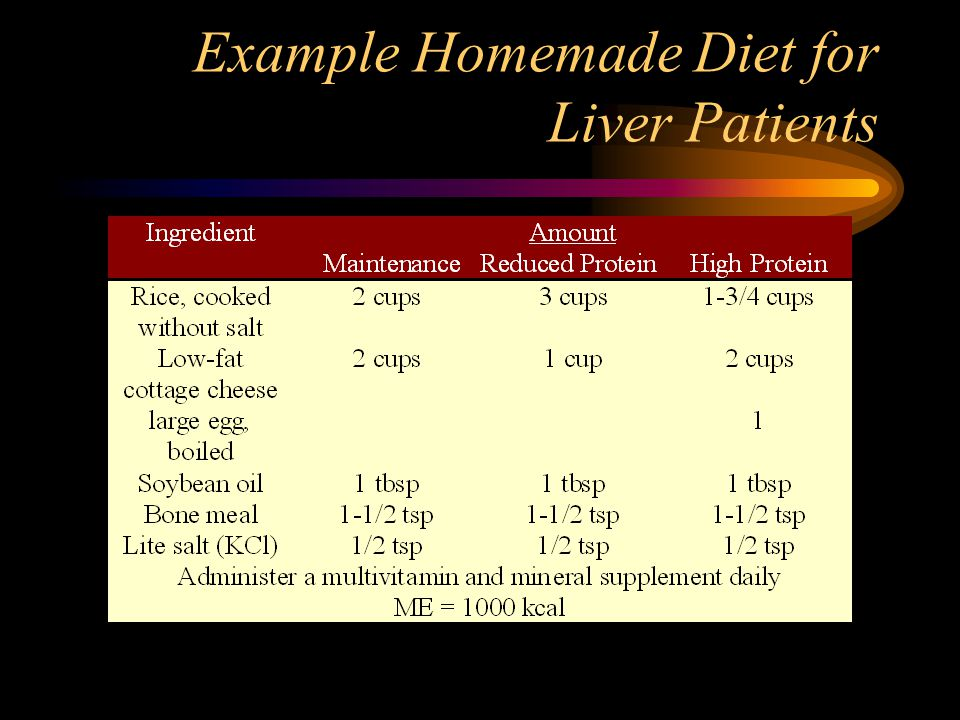 Example Homemade Diet for Liver Patients