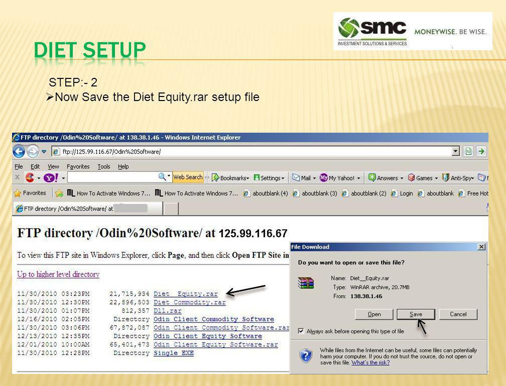 DIET SETUP STEP:- 2 Now Save the Diet Equity.rar setup file
