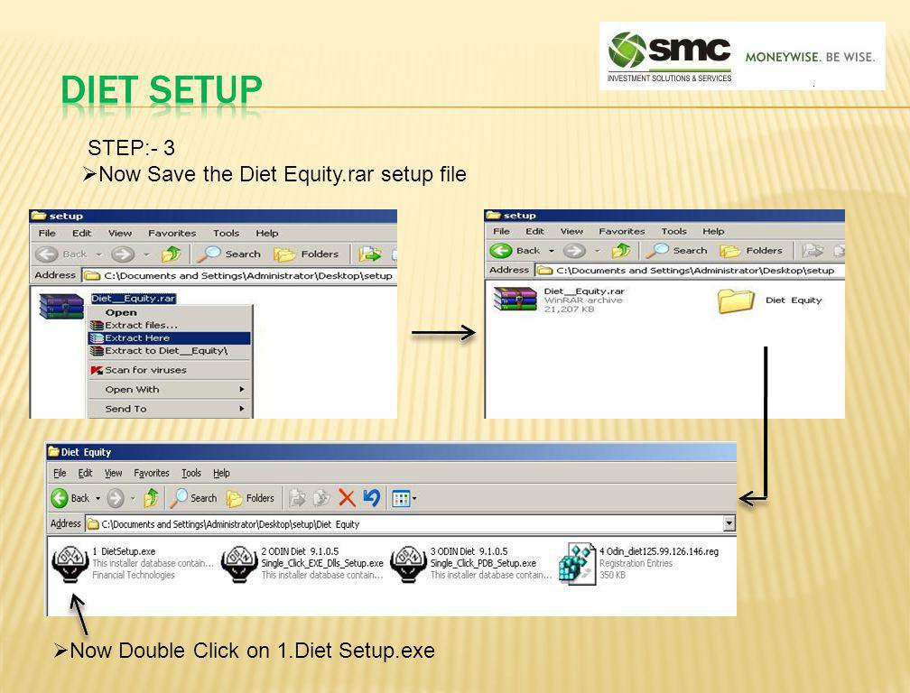 DIET SETUP STEP:- 3 Now Save the Diet Equity.rar setup file