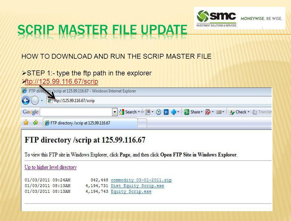 SCRIP MASTER FILE UPDATE