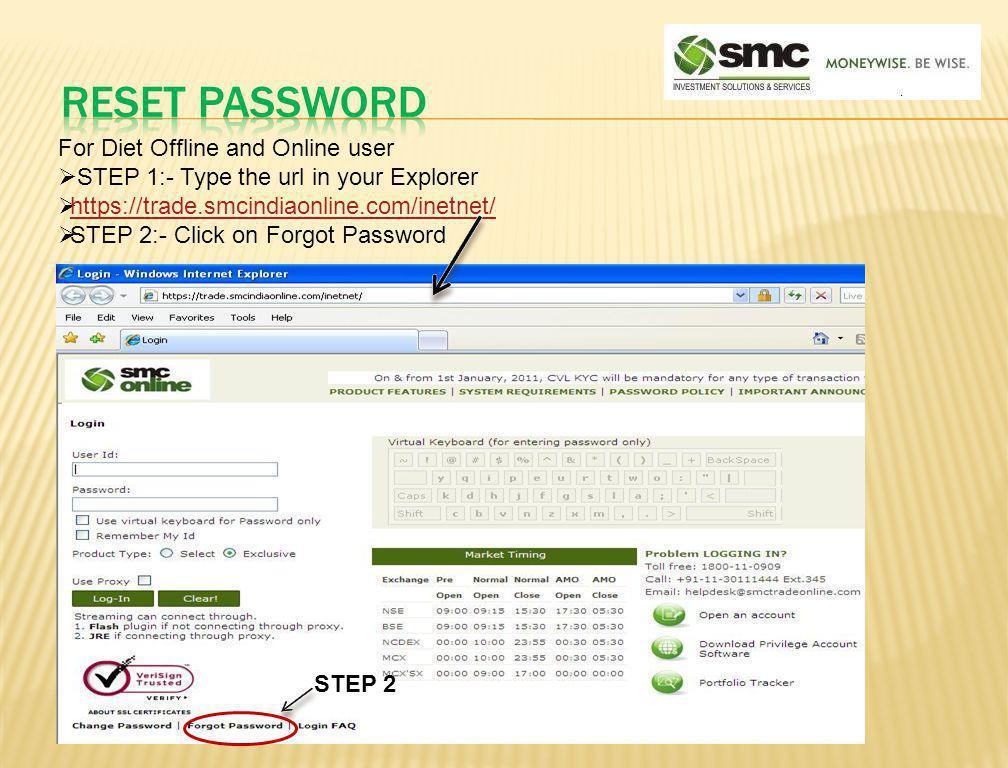 Reset password For Diet Offline and Online user