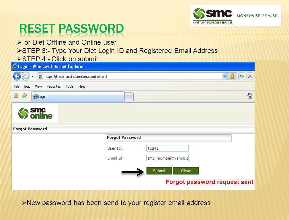 Reset password For Diet Offline and Online user