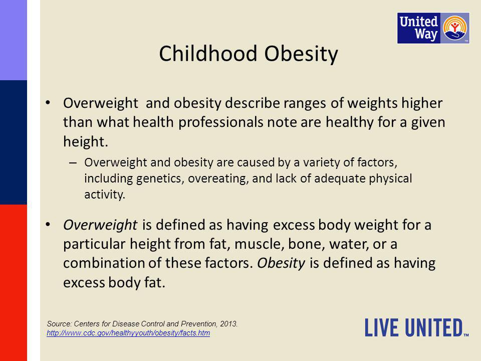 Childhood Obesity Overweight and obesity describe ranges of weights higher than what health professionals note are healthy for a given height.