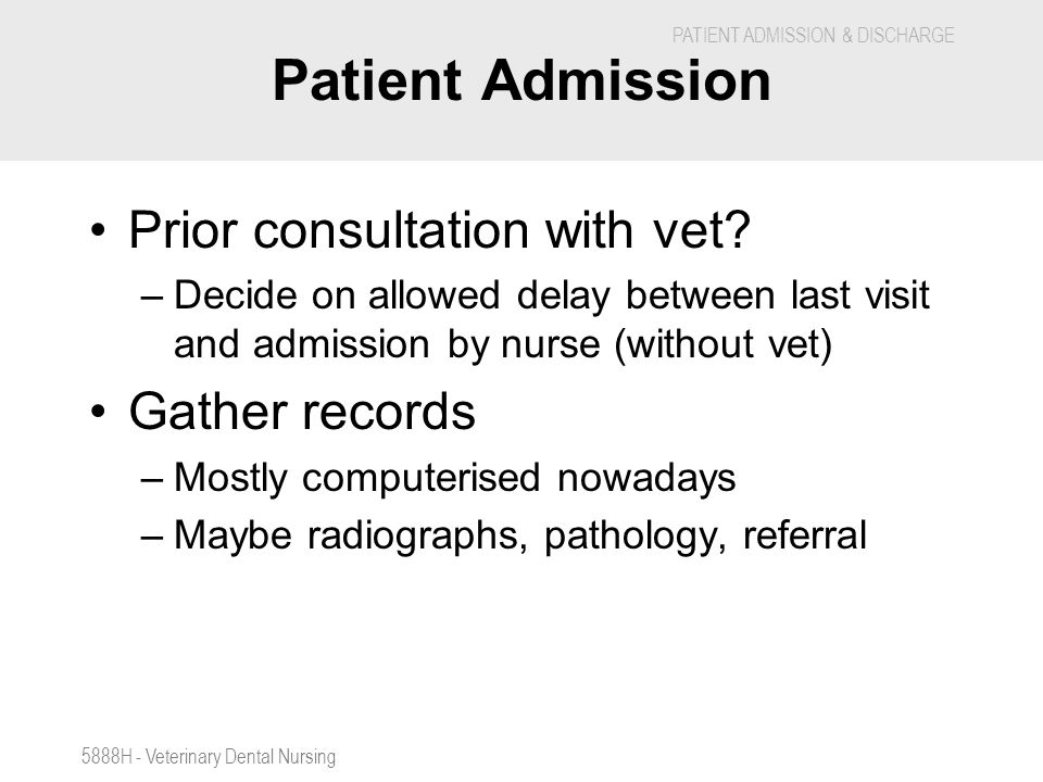 Patient Admission Prior consultation with vet Gather records