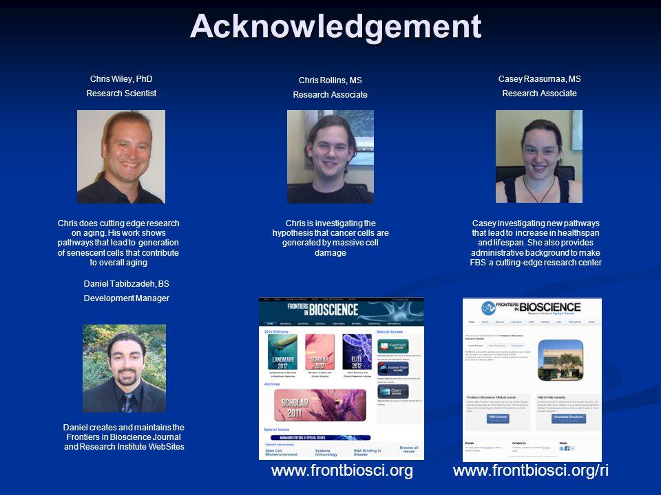 Acknowledgement www.frontbiosci.org www.frontbiosci.org/ri