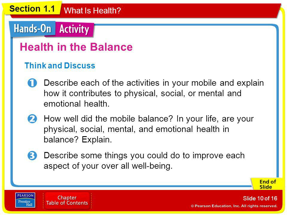 Health in the Balance Think and Discuss.