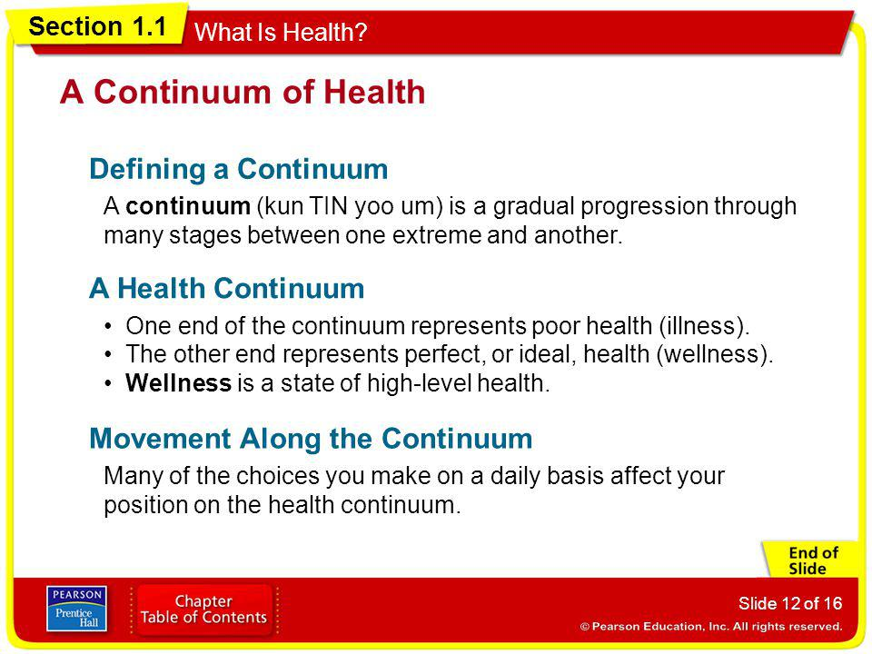A Continuum of Health Defining a Continuum A Health Continuum