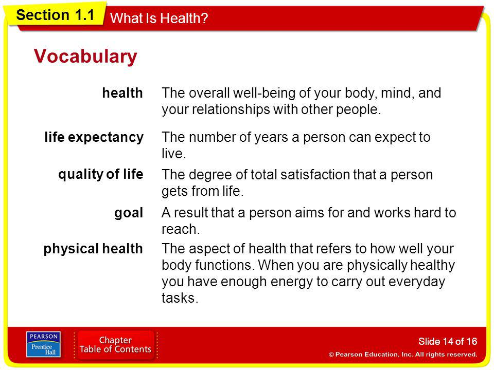 Vocabulary health. The overall well-being of your body, mind, and your relationships with other people.