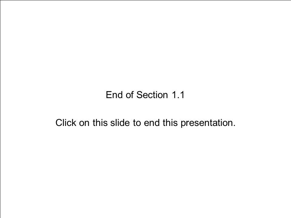 End of Section 1.1 Click on this slide to end this presentation.