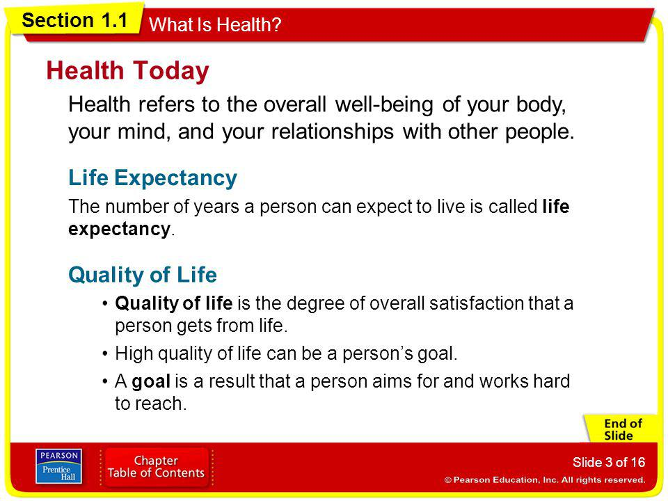 Health Today Health refers to the overall well-being of your body, your mind, and your relationships with other people.