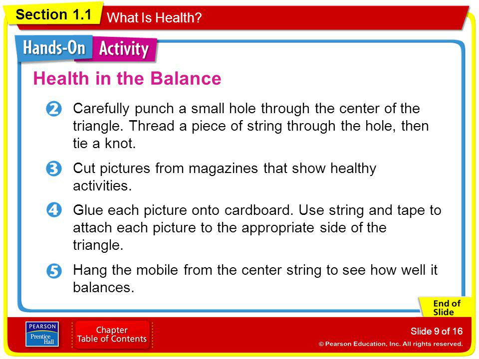 Health in the Balance Carefully punch a small hole through the center of the triangle. Thread a piece of string through the hole, then tie a knot.