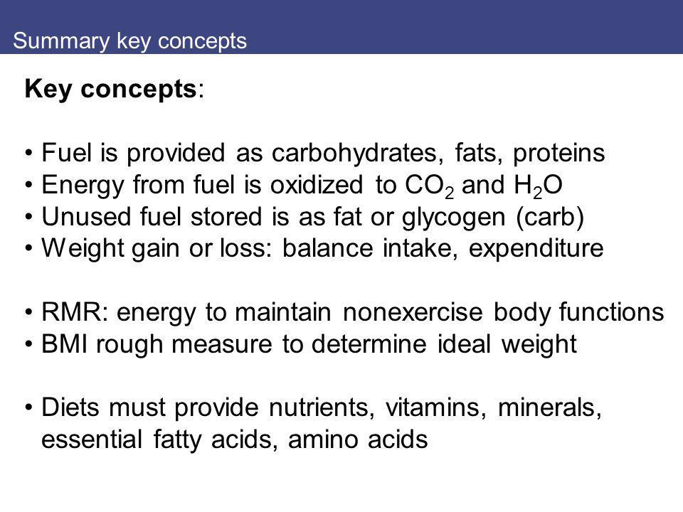Fuel is provided as carbohydrates, fats, proteins